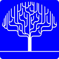 The Not a Blue Tree logo of a white outline of a tree on a blue background. The shape of the tree is like an outline of a brain.